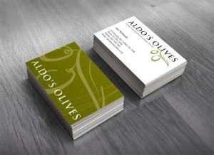 Aldo's Olives custom business card design